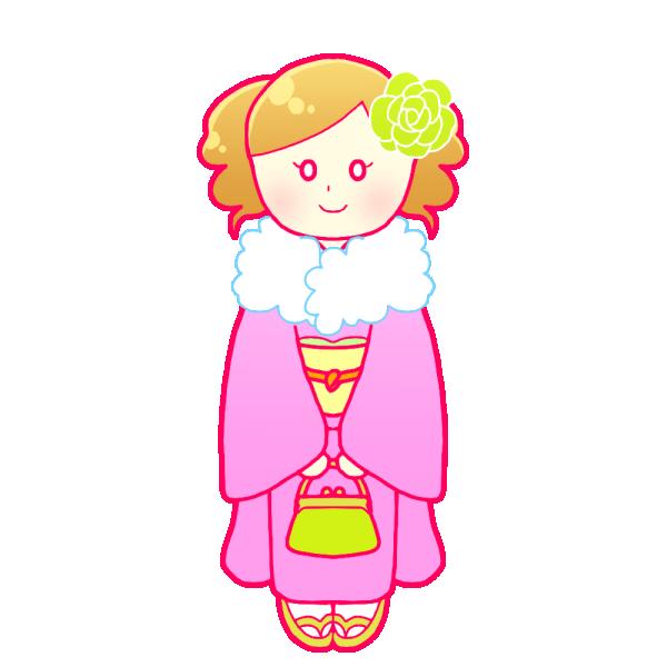 着物の成人女性のイラスト