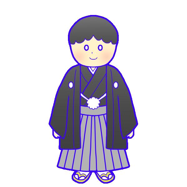 紋付袴の成人男性のイラスト