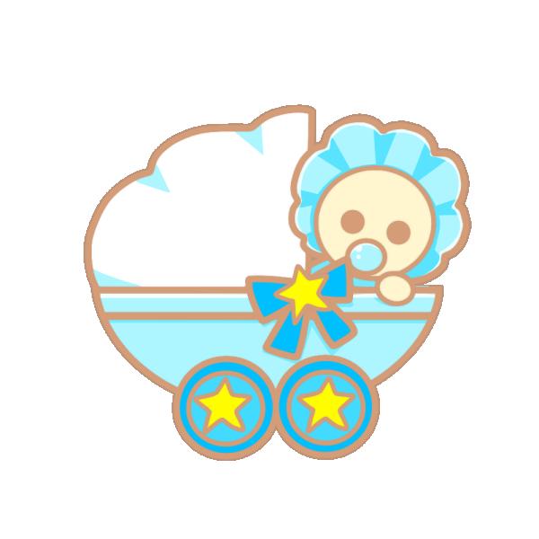 ベビーカーと赤ちゃん(青)のイラスト