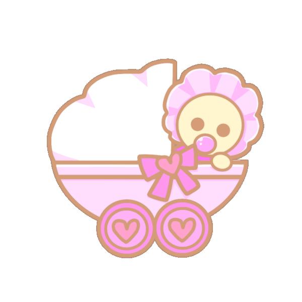 ベビーカーと赤ちゃん(ピンク)のイラスト