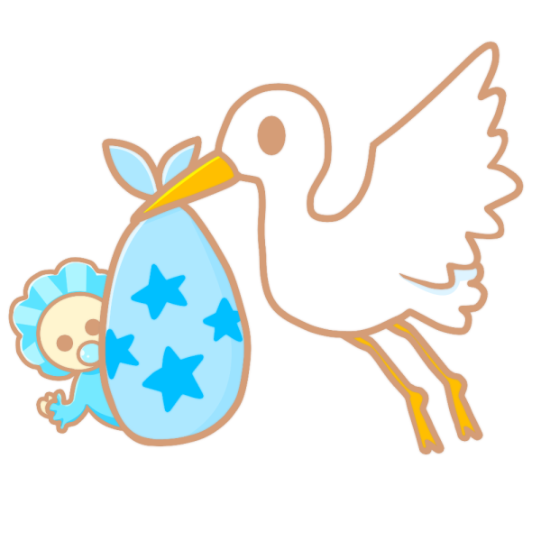 コウノトリと赤ちゃん(青)のイラスト