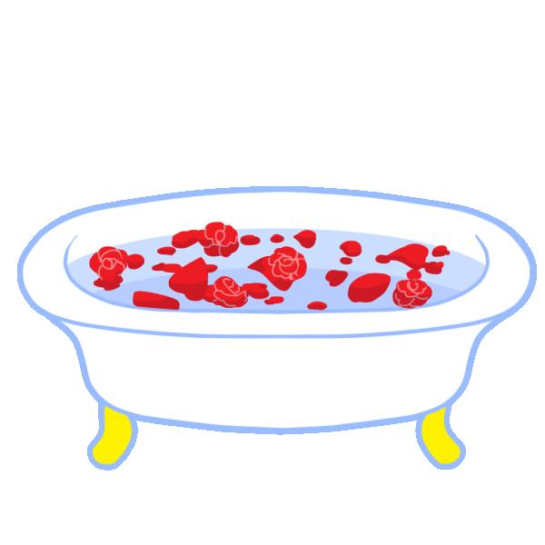 薔薇風呂のイラスト