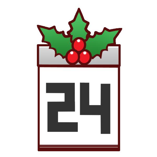 「12月24日」のカレンダーのイラスト