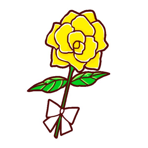 黄色の薔薇のイラスト