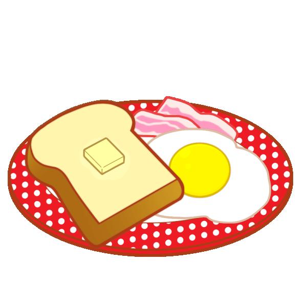 トースト&ベーコンエッグのイラスト