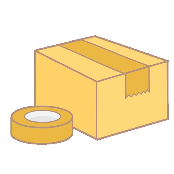 ダンボール箱とガムテープのイラスト