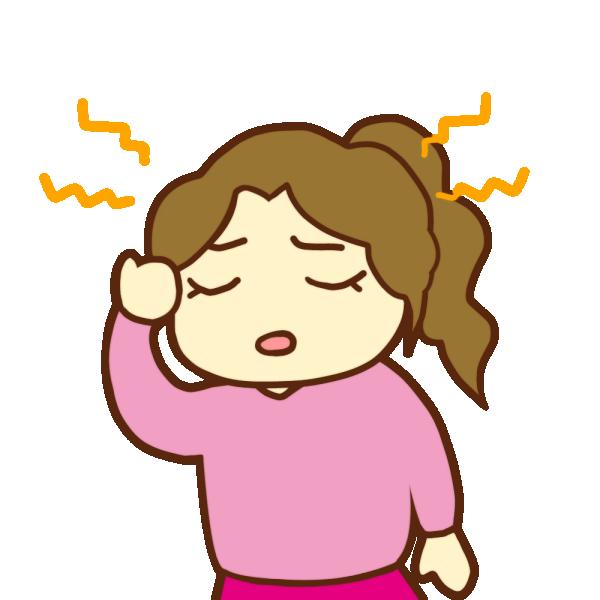 頭痛がする女性のイラスト