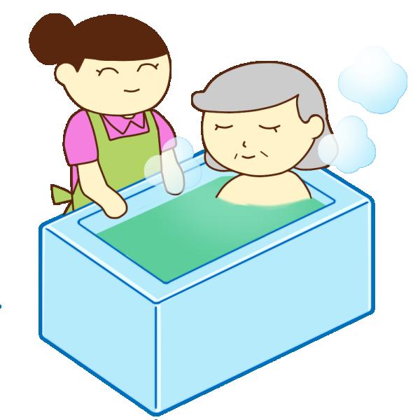 入浴介助の女性とおばあさんのイラスト
