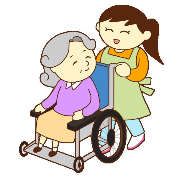 車いすのお婆さんと女性スタッフ(笑顔)のイラスト