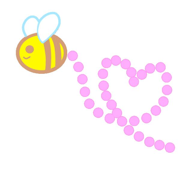 ハートの形に飛ぶミツバチのイラスト