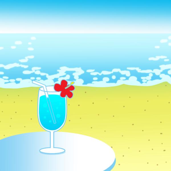 海と飲み物のイラスト