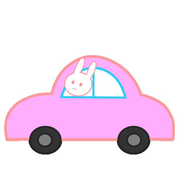 車に乗ったうさぎのイラスト
