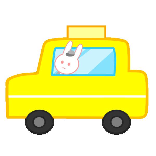 うさぎのタクシーのイラスト