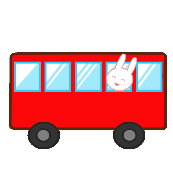 バスに乗ったうさぎのイラスト