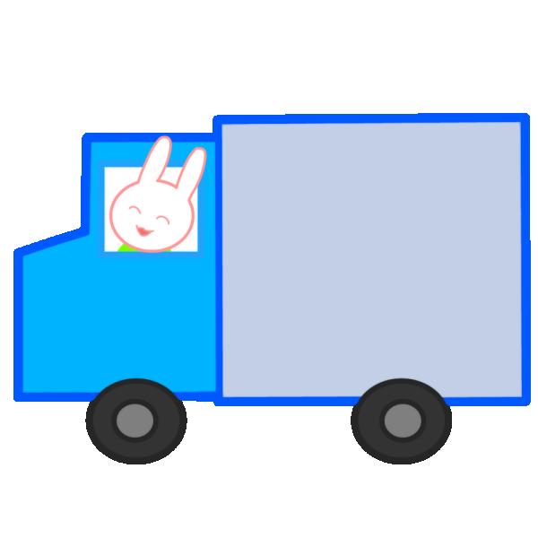 トラックに乗ったうさぎのイラスト