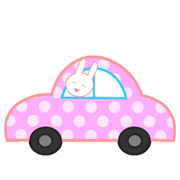 水玉の車とウサギのイラスト
