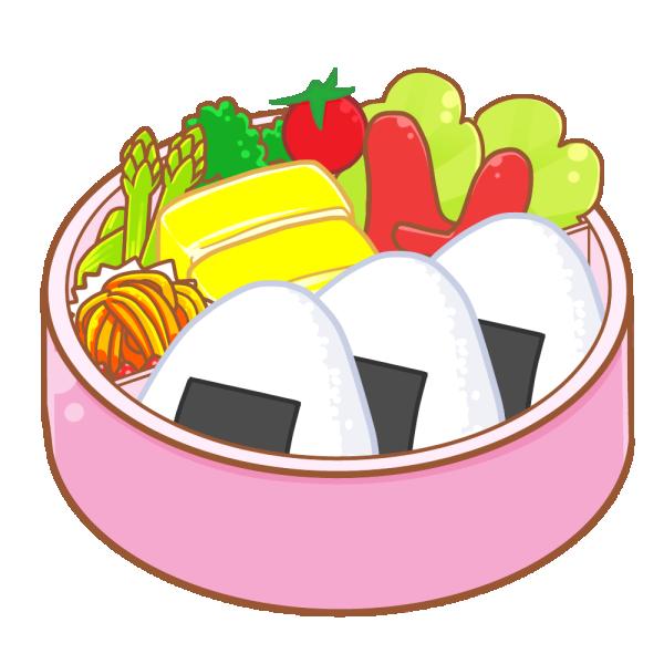 おにぎりのお弁当のイラスト
