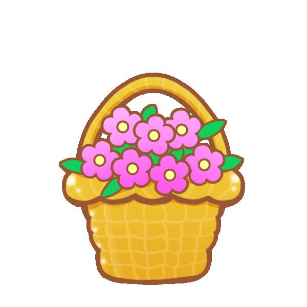 花カゴのイラスト