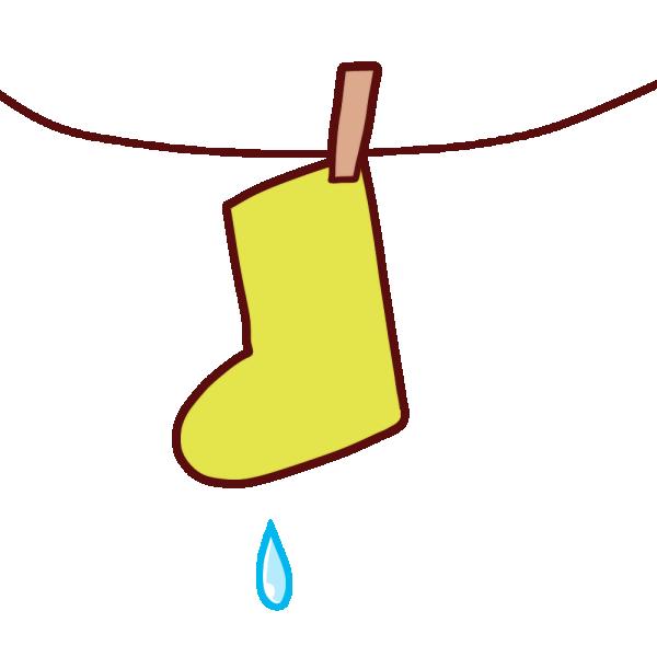 干された靴下のイラスト