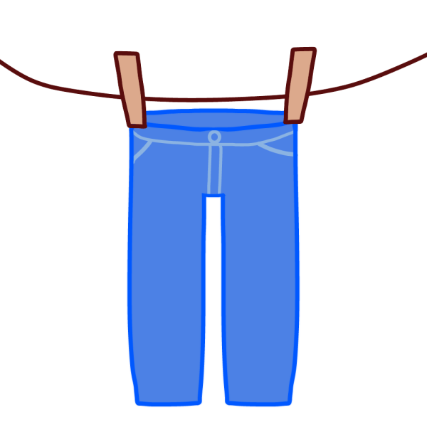 干されたジーンズのイラスト