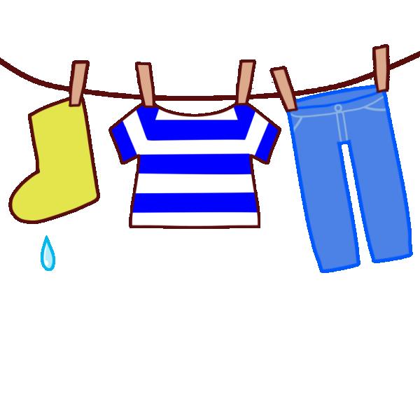 干された洗濯物のイラスト