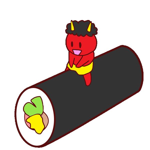 恵方巻と子鬼のイラスト