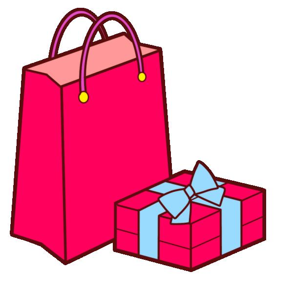 ピンクのショップバッグとラッピングされた箱のイラスト