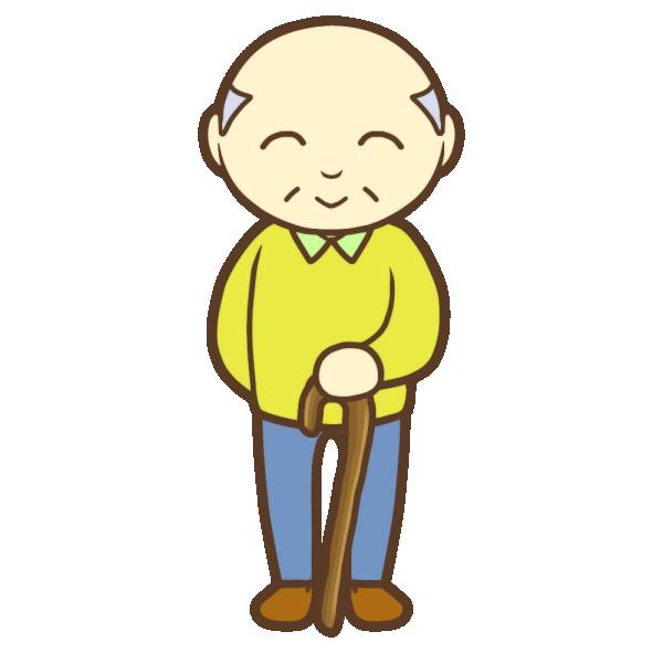 杖を持ったおじいちゃん(笑顔)のイラスト