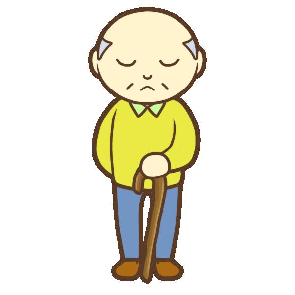 杖を持ったおじいちゃん(不満顔)のイラスト