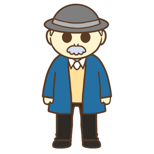 帽子を被ったおじいさんのイラスト
