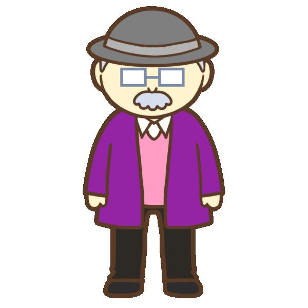 帽子とメガネを付けたおじいさんのイラスト