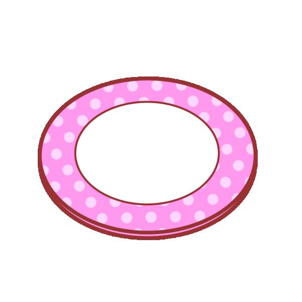 水玉柄のお皿のイラスト