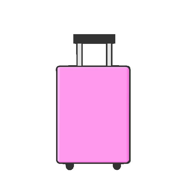 ピンクのキャリーバッグのイラスト