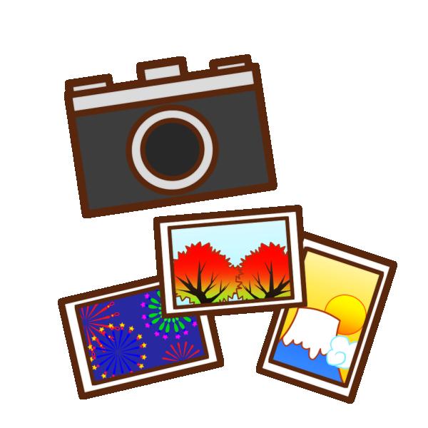 カメラと風景写真のイラスト