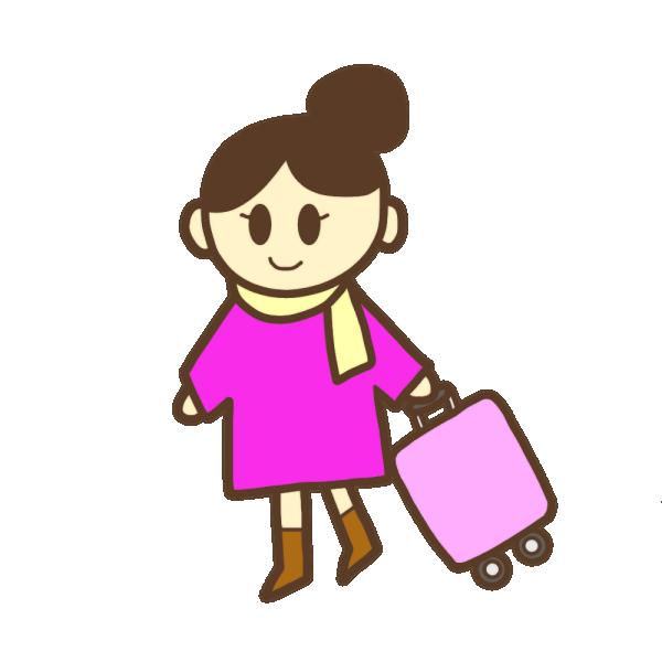 旅行カバンを持った女性のイラスト
