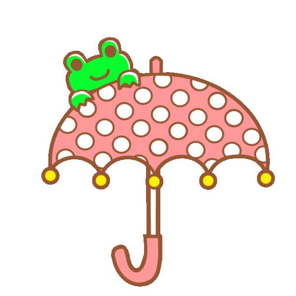カエルと傘のイラスト