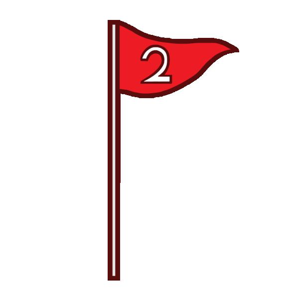 「2」の旗のイラスト