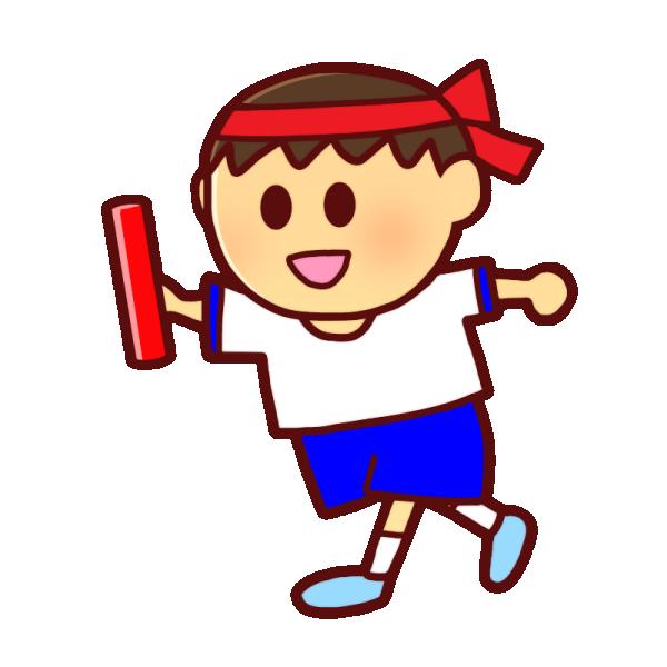 バトンを持つ男の子のイラスト