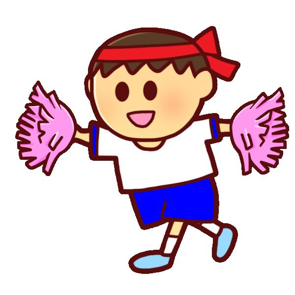 ポンポンを持つ男の子のイラスト