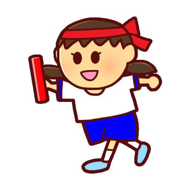 バトンを持つ女の子のイラスト