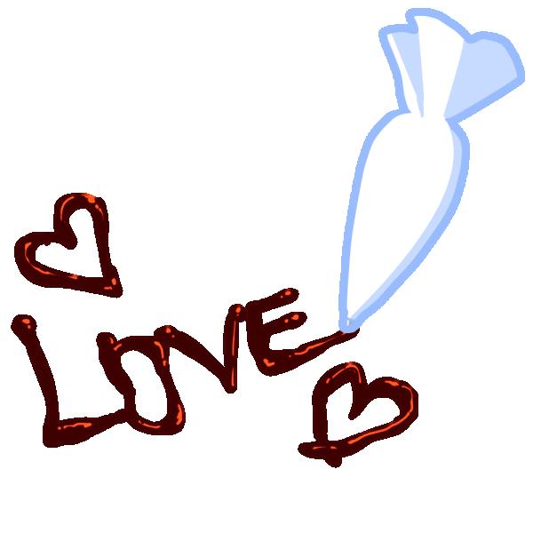 チョコレートで書かれた「LOVE」のイラスト