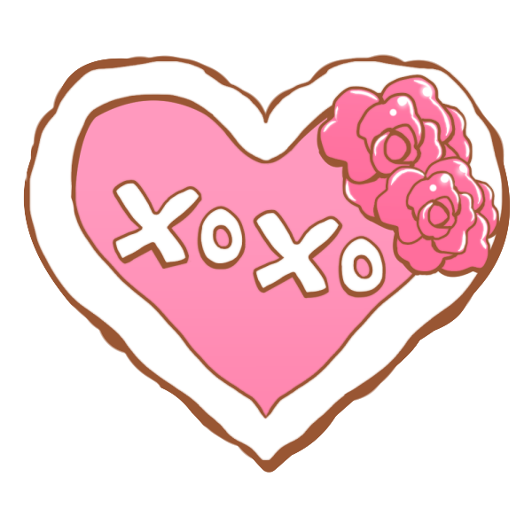 「XOXO」の文字入りハートのイラスト