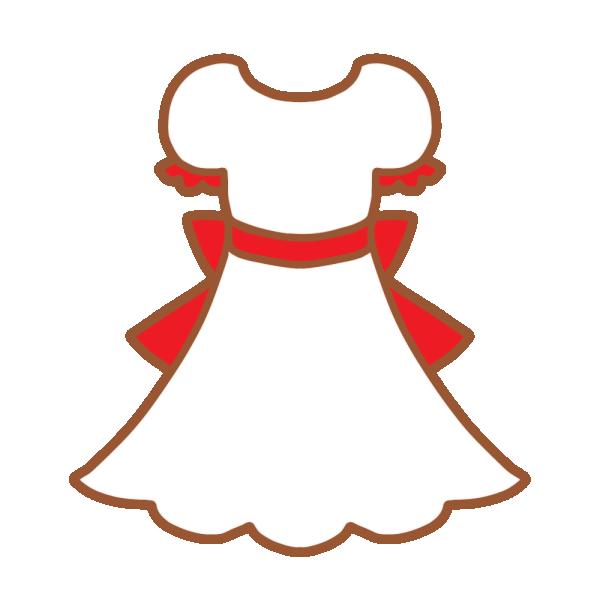 白×赤のワンピースのイラスト