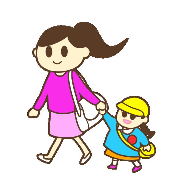 ママと幼稚園へ ママのお迎え 女の子 のイラスト かわいいフリー素材が無料のイラストレイン