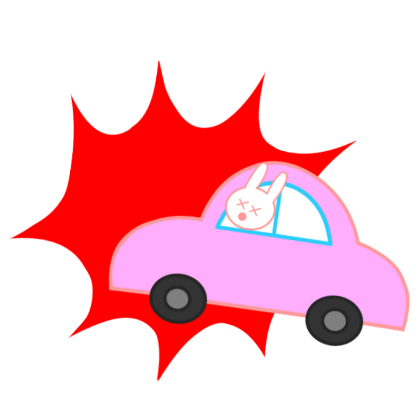 事故に遭ったうさぎの運転手のイラスト
