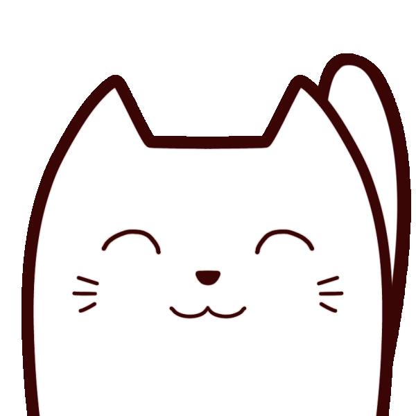 白猫(笑顔)のイラスト