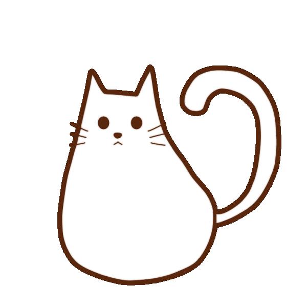 ふっくらしてる白猫のイラスト