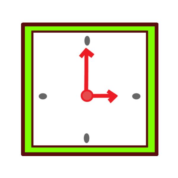 四角い時計のイラスト