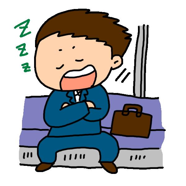電車で居眠りするビジネスマンのイラスト