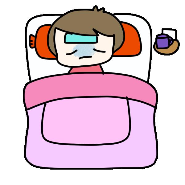 寝て治す人のイラスト